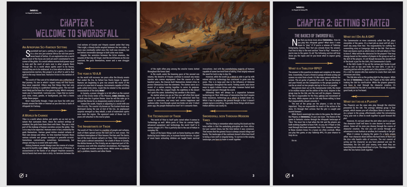 A Preview of the Swordsfall RPG