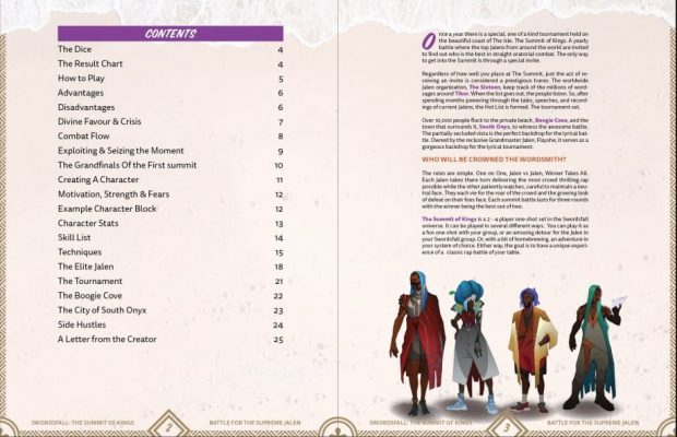 Table of Contents spread for Summit of Kings