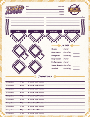 Character Sheet for Summit of Kings