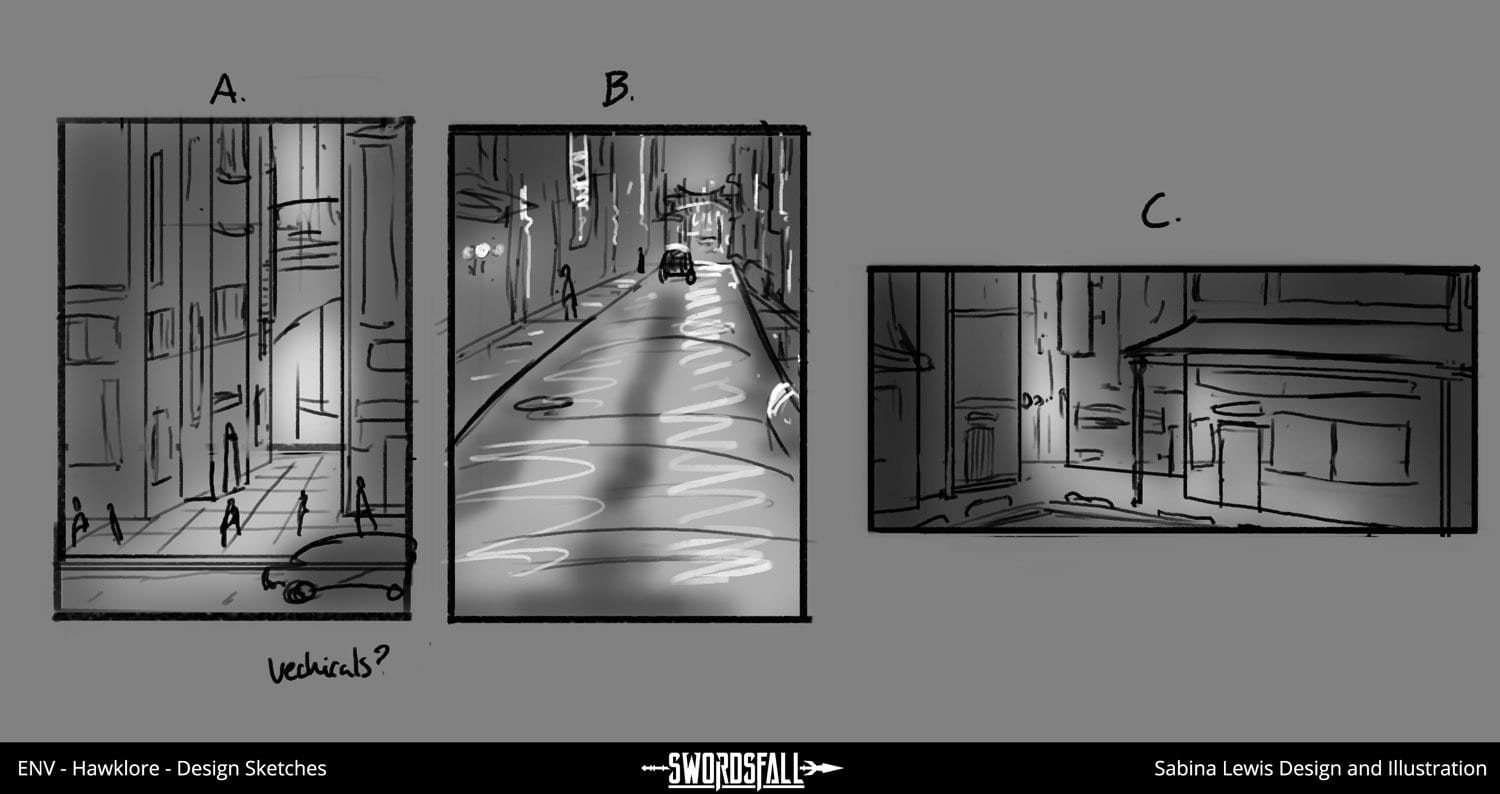 design sheet Hawklore 02 - Member Exclusive | Streets of High Perch, Design Sketches